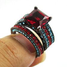 SZ 7 Black Rhodium Plated Wedding Ring Princess Cut Ruby CZ Anniversary Cocktail
