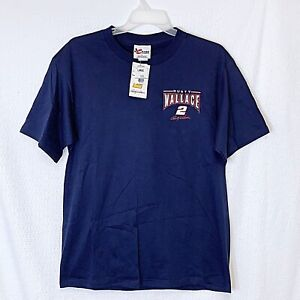 Chase Rusty Wallace #2 NASCAR Men's Large T-Shirt Blue Embroidered VTG New