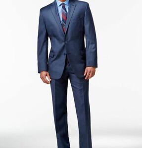 $629 Calvin Klein Men's 40R Blue Fit Wool 2 Piece Suit Jacket Blazer Pants