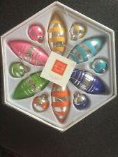 ISAAC MIZRAHI set of 12 mixed teardrop and ball shaped ornaments - 2005
