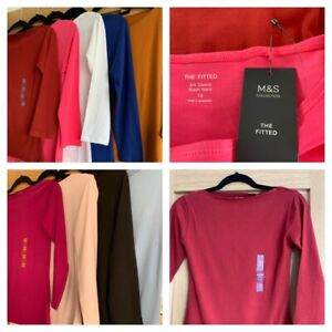 MARKS AND SPENCER Ladies fitted 3/4 sleeve slash neck tops - sizes 6-24 - variou