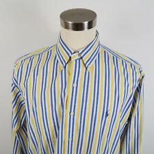 Polo Ralph Lauren Mens Custom Fit LS Button Down Blue Yellow Striped Shirt XL