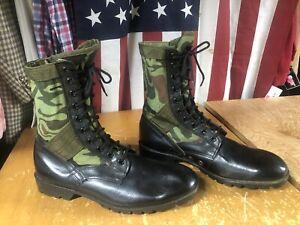 Vtg Woodland Tiger Stripe Vietnam-Look Camo Combat Jungle Jump black Boots 13 R