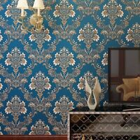 Luxury blue Damask 3d foaming flock Embossed Wallpaper non woven Wall Paper