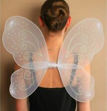 Girls Ladies WHITE BUTTERFLY ANGEL WINGS Fancy dress dressing up party and Wand