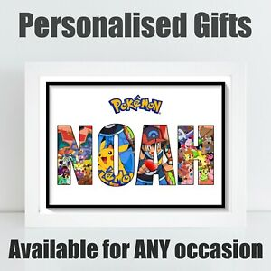 Personalised Pokemon Childrens Gaming Theme Name Birthday Gift Poster Print A4