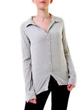 Sundry Women's Basic Flannel Striped Shirt Grey Size US 1 RRP £132 BCF611