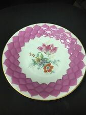 WEIMAR PORCELAIN PLATE Pink BACKGROUND With Gold Trim Flower DECORATION