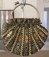 Retro Gold, Khaki, Bronze Bead Embellished Evening Frame Bag Clutch Handle/Strap