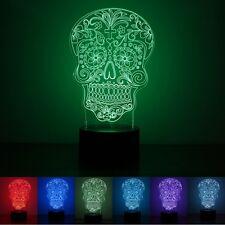 Illuminated Illusion Color Changing Skull LED Desk Night Light Lamp 3D