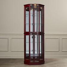 Brown Lighted Glass Shelf Corner Display Curio Cabinet Furniture Home Living