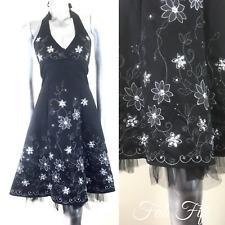 Rockabilly Bay vestido negro y plateado bordado con cuentas de Tul Halter Baile de graduación ~ 6