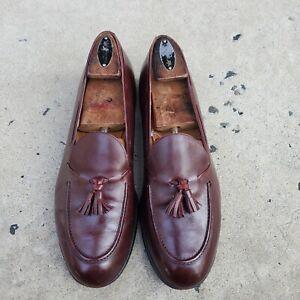 Belgian Shoes Burgundy Leather Tassel Loafers sz 9.5 M MENS US HANDMADE