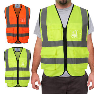 Hi Viz Zip Vest High Visibility Reflective Safety Vest Workwear with ID Pockets