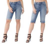 Womens Ladies Ex High Street High Waisted Light Denim Knee Length Summer Shorts