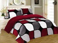 3 Piece Burgundy Black White Flannel Sherpa Blanket Queen/King Size 7 lbs