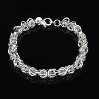 Fashion 925 Silver Plated Tie Knot Charm Bangle Chain Bracelet Women Jewelry