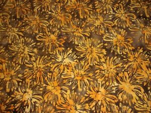 4 YARDS Floral Orange Yellow Flower Brown Anthology Crafts Quilts Cotton 233