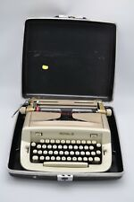 Vtg Retro Royal Futura Typewriter Gold Tone Beige Hard Case Portable 50s Manual