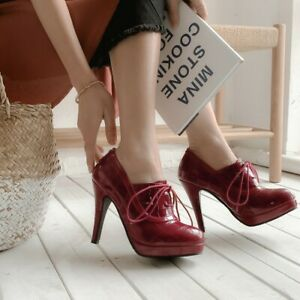 Spring New Ladies High Stilettos Heels Pumps Lace up Casual Office Shoes Size UK