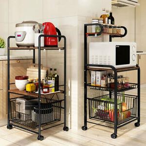 Mobile Kitchen Trolley Fruit Vegetable Microwave Oven Rack Stand Shelf Cart Unit