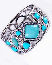 Turquoise Crystal Bangle Bracelet Balinese Rope Silver Alloy Hinged Women