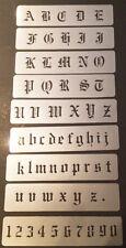Lasercut Hazy Mylar Old English Font Stencil Set for airbrush tattoo, craft.
