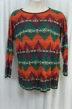 Denim & Supply by Ralph Lauren Sweater Sz L Green Multi Southwestern Scoop