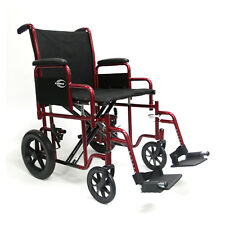 Karman T-922 Heavy Duty Manual Deluxe Bariatric Transport Wheelchair Red Frame