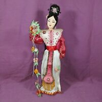 "Vintage Thailand Asian Cloth Geisha Ningyo Woman Doll 13"" Pink Flowers"