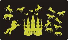 GLOW IN THE DARK WALL ART STICKERS - Luminescent - UNICORNS & CASTLE, Large Size