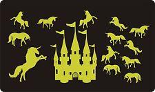 Glow In The Dark Wall Art Stickers-LUMINESCENT-Licornes & Castle, grande taille