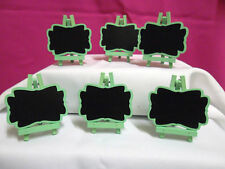 PACK OF 6 GREEN WOODEN MINI BLACKBOARD EASELS