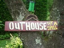 OUT HOUSE SIT A SPELL COUNTRY WOOD RUSTIC PRIMITIVE HOUSE SIGN PLAQUE