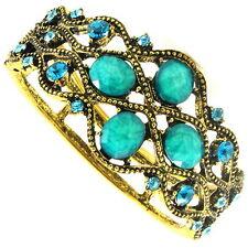 Bracelet Vintage Style Crystal Rhinestone plated Wide UNIQUE blue LARGE NEW