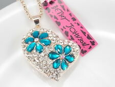 Betsey Johnson Fashion inlay blue Crystal Love Heart Pendant Necklace # B408