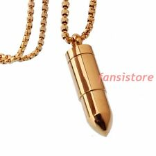 Fashion Men's Gold Plated 316L Stainless Steel Open Bullet Pendant Necklace