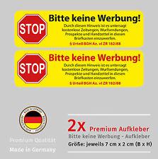 Briefkasten Aufkleber Set - Bitte KEINE WERBUNG - Wetterfest und UV Beständig