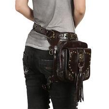 Goth Men PU Leather Waist Leg Bag Hip Motorcycle Punk Messenger Shoulder Pack