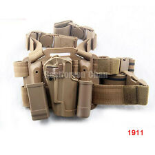 Tactical Right Leg Thigh Hand Holster w/ Magazine Torch Pouch DE Colt 1911 M1911