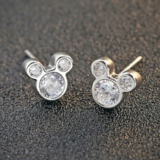 Solid 925 Sterling Silver Mickey Mouse CZ Earrings