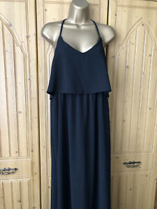 NEW LOOK. SIZE 14. LADIES BLACK STRAPPY SLIP ON, MAXI DRESS. EX CONDITION