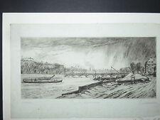Le Pont des Arts, Paris, eau-forte époque début 20ème.