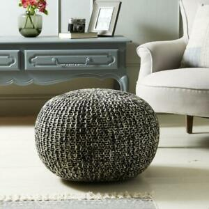 Large Round Knitted Pouffe Foot Cushion - Black & White