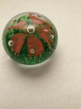 "Vintage MURANO End of Day Glass Paperweight Orange Flower 3"" Wide"