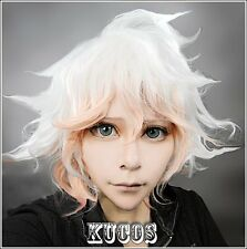 Cosplay Perücke Danganronpa Dangan-Ronpa Nagito Komaeda WHITE PINK Short haar