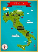 Map of Italy Florence Rome Milano Pisa Naples Retro Travel Art Poster Print