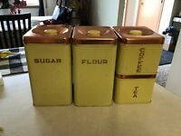 Vintage 1950s Lincoln BeautyWare Canister Set Pale Yellow & Copper Lid!