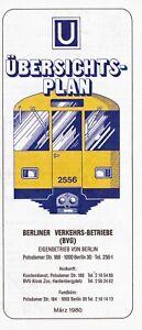 Berlin BVG U-Bahn Liniennetz März 1980 gefaltet