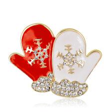 KC Gold Unique Christmas Decor White Rhinestone Alloy Drip Oil Gloves Brooch Pin